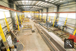 Our new fabrication facility in Duke Point features twelve fabrication stations and an overhead 10 ton gantry crane